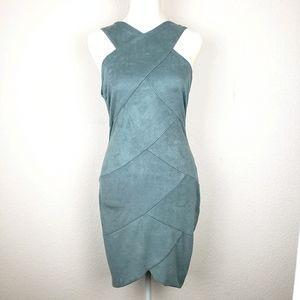 Windsor teal faux suede sleeveless paneled dress